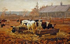 NIKKOLAI IVANOVICH BARCHENKOV  Manhã numa fazenda estatal, 1958 Óleo sobre tela