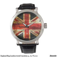 England flag London travel vacation 4 names Watch Flag Design, Union Jack, London Travel, Vintage Watches, Vintage Leather, Great Britain, London England, Vacation Trips, Family Travel