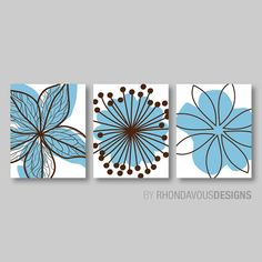 Chocolate Brown Blue Flower Print Trio  Home by RhondavousDesigns2, $20.00