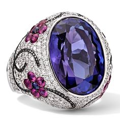 Rosendorff African amethyst Collection - Amethyst, pink tourmaline, white and black diamond ring Purple Jewelry, Amethyst Jewelry, Bling Jewelry, Diamond Jewelry, Jewelry Rings, Vintage Jewelry, Jewelry Accessories, Jewelry Design, Jewellery