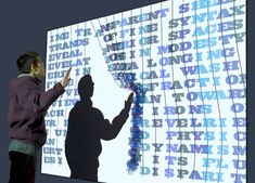 "'Text curtain"" explores the relationships between poetic text and ludic play via an interactively evolving recombinant text. Projected on a wall-size screen, Text curtain presents a physics-based 'spring-mass' interface that organically responds to the interactions of multiple simultaneous users."