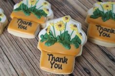 Flower Pot Thank You Cookies Sunflower Cookies, Leaf Cookies, Iced Cookies, Royal Icing Cookies, Sugar Cookies, Thank You Cookies, Biscuit Cake, Fondant Decorations, Pampered Chef