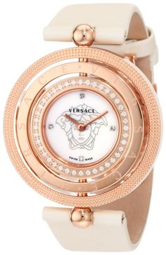 Versace Women's 80Q81SD497 S002 Eon Three Rings Rose-Gold Plated 40-Diamond Mother-Of-Pearl Satin Watch - designer shoes, handbags, jewelry, watches, and fashion accessories | endless.com