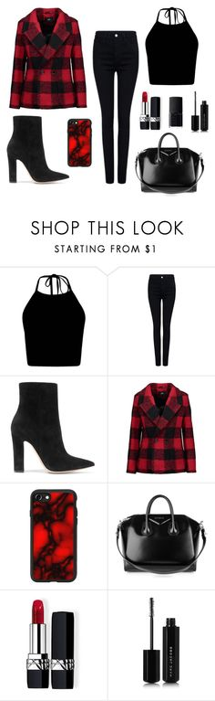 """""""Plaid Coat"""" by helplessthing ❤ liked on Polyvore featuring Pink Tartan, Gianvito Rossi, Line, Casetify, Givenchy, Christian Dior, Marc Jacobs and NARS Cosmetics"""