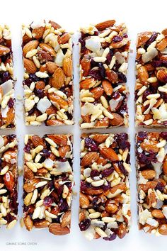 Cranberry Almond Protein Bars -- way cheaper than fruit and nuts bars at the store, and naturally gluten-free! Vegan Protein Bars, Healthy Protein Snacks, Protein Bar Recipes, Diabetic Snacks, Healthy Snacks For Diabetics, Healthy Recipes, Snack Recipes, Cooking Recipes, Protein Foods