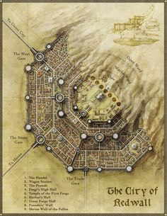 The city of Redwall - for a tutorial on city design map cartography | Create your own roleplaying game material w/ RPG Bard: http://www.rpgbard.com | Writing inspiration for Dungeons and Dragons DND D&D Pathfinder PFRPG Warhammer 40k Star Wars Shadowrun Call of Cthulhu Lord of the Rings LoTR + d20 fantasy science fiction scifi horror design | Not Trusty Sword art: click artwork for source