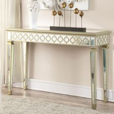Accent Cabinets Mirrored Console Table