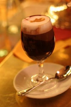 "Bicerin (Italy). 'Bicerin is a traditional hot drink native to Turin, Italy, made of espresso, drinking chocolate and whole milk served layered in a small rounded glass. The word bicerin is Piedmontese for ""small glass"".' http://www.lonelyplanet.com/italy/liguria-piedmont-and-valle-daosta/turin"