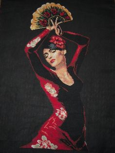 Spanish Dancer completed cross stitch picture #EasyPin
