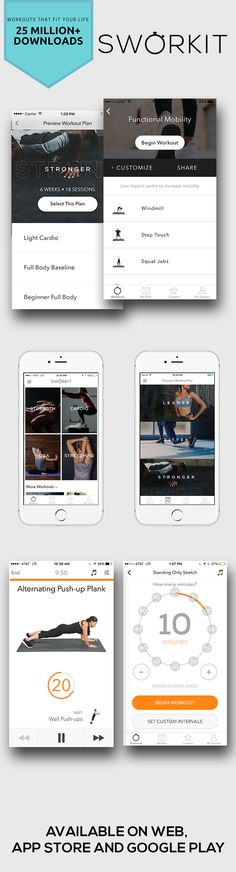Sworkit Fitness Apps. Circuit HIIT trainings set at any time. Workout at home or anywhere with this fun workout. More workouts on our apps. Available on app store, Google Play, and the web. You can follow along and get a consistent lifestyle with workout reminders, too.