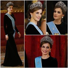 Queen Letizia  during the gala dinner in honor of His Excellency the President of Argentina Mr. Mauricio Macri, and his wife Mrs. Juliana Awada, who are on a state visit to Spain {02.22.2017 | Palacio Real de Madrid | Madrid, Spain}.  .   : Felipe Varela   : Magrit   : Tiara - Ansorena, Earrings - Ansorena, Brooch - Ansorena, Twin Bracelets - Cartier   : Order - Grand Cross of the Order of the Liberator General San Martin  .  .