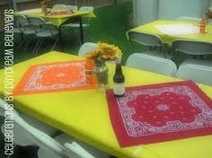 Western Theme Party Table Decorations with Bandanas