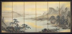 Landscape  山水図屏風  Japanese, Meiji era, late 1870s–1890s  Kimura Ritsugaku, Japanese, 1827–1890, Six-panel folding screen; ink and gold on paper, MFA