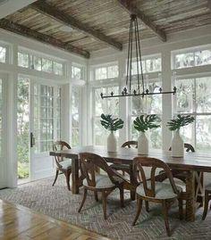 brown beams, brown furniture, white trim and walls
