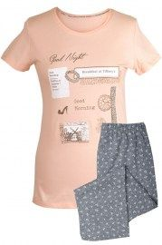 MUZZY nightwear, piżama, koszulka + rybaczki, jasno różowa, good night, good morning , więcej na www.muzzy.pl/sklep