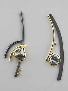 Earrings | Janis Kerman. 18k, cultured Tahitian keshi pearls, diamonds