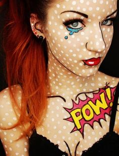 Such a creative idea! Found on Halloween Makeup Tutorials, Costume Ideas and Party Planning - The Best Halloween Ideas!: Comic Book Girl / Pop Art Halloween Costume and Makeup Tutorial Halloween Makeup Looks, Halloween Costumes For Girls, Diy Costumes, Halloween Diy, Costume Ideas, Halloween Clothes, Female Costumes, Pop Art Halloween Costume, Pop Art Costume