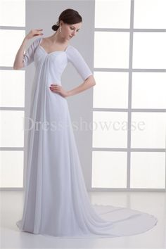 White Spring/ Fall Natural Sheath/ Column Zipper-back Wedding Dresses -Wedding Dresses ☺ ✿  ✿