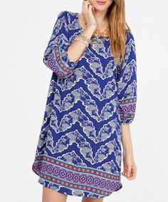 Blue Geometric Shift Dress