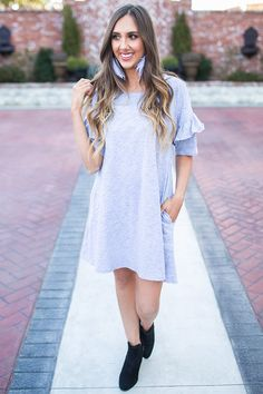 Better Together Shift Dress in Grey- $38