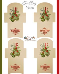 FREE printable Christmas Tea Bag Covers