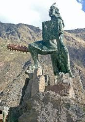 Statue of the Supreme Inca Pachacuti, village of Ollantaytambo
