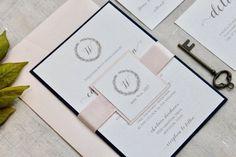 Blush and Navy Wedding Invitations Wedding by MemoryLanePaperie