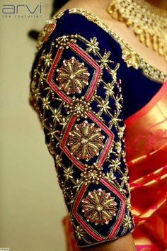 Discover ideas about Wedding Saree Blouse Designs … Beautiful bridal designer blouse sleeves with hand embroidery Kundan thread and cutwork Wedding Saree Blouse Designs, Pattu Saree Blouse Designs, Blouse Designs Silk, Wedding Blouses, Blouse Patterns, Saris, Silk Sarees, Hand Work Blouse Design, Aari Work Blouse