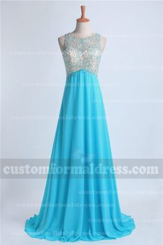 Beaded Long Turquoise Prom Dresses Chiffon High Neck LOXF39