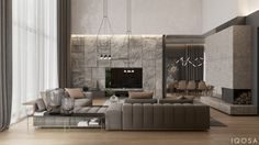 Country house on Behance Living Room Modern, Living Room Interior, Living Room Designs, Living Room Decor, Living Spaces, Luxury Interior, Modern Interior, Interior Architecture, Plafond Design