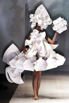 Paper Dress - sculptural fashion; wearable art; paper couture; origami fashion // Diana Gamboa