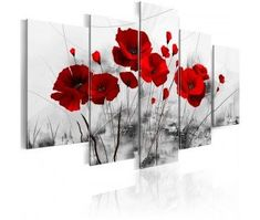 5 Panels Flower Canvas Painting Red Poppies Floral Art Modern Abstract Home Decor Grey Wall Art Framed Print Pictures Artwork for Living Room Flower Painting Canvas, Abstract Canvas Wall Art, Large Canvas Wall Art, Framed Wall Art, Painting Prints, Canvas Prints, Art Prints, Art Floral, Art Rose