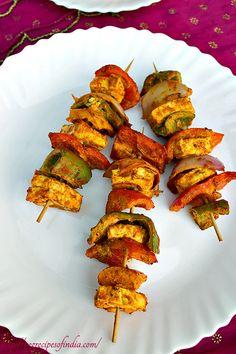 Indian cuisine-  paneer tikka, tandoori paneer tikka, paneer tikka recipe