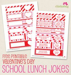 These are the cutest!! Free printable Valentine's Day school lunch jokes from #Chickabug
