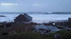 A cottage at Roundstone, Co Galway is battered by waves (Pic: Martha Ryan) Irish Free State, Ireland Homes, Strong Wind, Republic Of Ireland, United Kingdom, Coast, Waves, Cottage, Weather