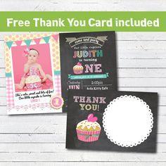 Cupcake birthday invitation. Baby girl 1st first birthday invitation. Yellow, pink podia dot chalkboard. Photo printable invite. PA004 on Etsy, $10.99