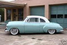 """Baby blue 49"""" Chevy Sport Coupe on custom lowered"""