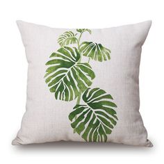 Palm Leaf Print Decorative Throw Pillow Cover (5 designs)