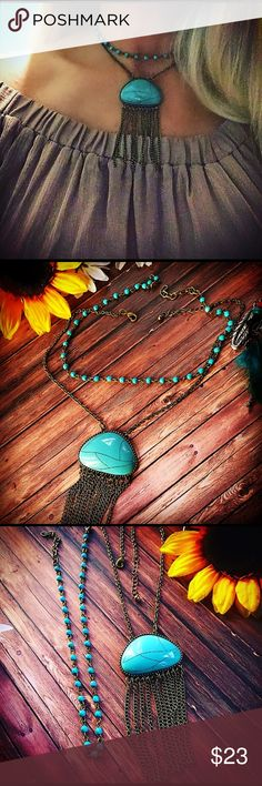 Boho choker set,turquoise necklace,boho necklace This is sold as a set the first necklace is with turquoise nuggets measuring 13 inches with a 1 inch extension made out of turquoise nuggets and antique bronze chain and the second 16 inches long with a 3 inch long pendant with a turquoise stone on antique bronze chain and it has a 3 inch extension, these are two separate chokers I just thought they looked really good together.Handmade new #bohonecklace #choker #turquoise Jewelry Necklaces