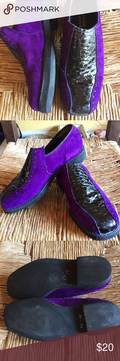 Punk rock purple suede/black alligator loafers Hush Puppies purple suede/black alligator loafers. Punk rock. I wish these still fit me but they are too small. Worn once. Excellent condition. Hush Puppies Shoes Flats & Loafers