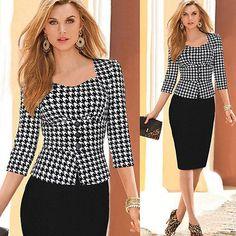 Womens Peplum Fashion Elegant Slim 3/4Sleeve OL Wear to work Plaid Dress | eBay