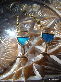 Medium Blue Wine Glass Charm Earrings by KLKEndeavors on Etsy Bangle Bracelets, Bangles, Wine Glass Charms, Glass Earrings, Buy And Sell, Pendant Necklace, Medium, Handmade, Blue