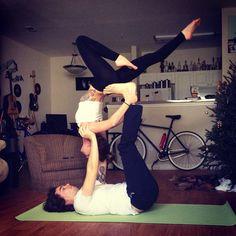 enlightenedyogi:      My love and I doing some acro yoga!!