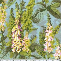 Philip Jacobs Foxgloves Aqua Fabric BTY--MY C
