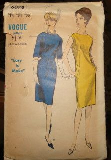 Vogue 6078 Vintage Sewing Pattern Ladies One Piece Dress 1960's #1960s #dress #ladies #vogue #vintage #patterns #sewing #retro #vintagestitching