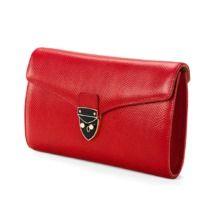 Shield Lock Manhattan Clutch in Berry Lizard. Handbags & Clutches from Aspinal of London
