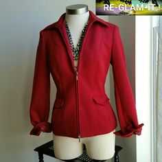 EAST 5 TH......GORGEOUS RED...ZIPPER  BLAZER... ...EXCELLENT CONDITION  ...LIKE NEW ...NO FLAWS  ...GORGEOUS  ...true to its size and color ...color....red wine...red ...2 pic up close ...zipper front  ...zipper sleeves. ...collar neck line ...2 pockets on front  ...comfortable  ...design throughout  ...MTRL...100%polyester  ...better in person East 5th Jackets & Coats Blazers