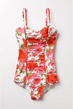 pink & coral floral swimsuit ...poppies!