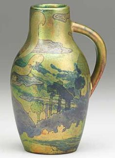 Small pitcher with volcano and landscape, Hungary, ca. Five churches medallion x 10 Picture, Vases, Porcelain Ceramics, Colour Images, Glass Jewelry, Pottery Art, Hungary, Art Decor, Art Nouveau