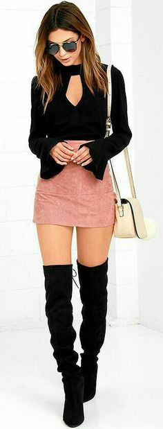 Perfect fall outfit 2018 Thigh high boots with a mini shirt and bell sleeve blouse. Rock it.